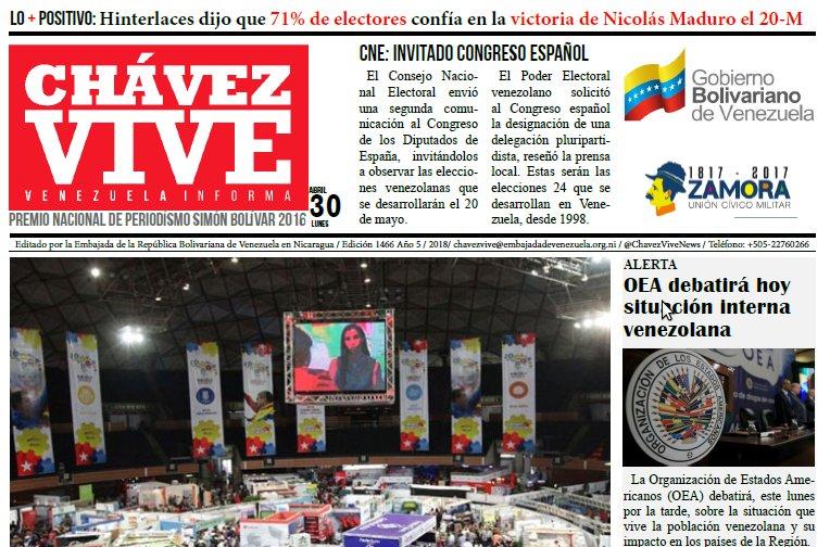 DIARIO CHÁVEZ VIVE (1466) 30-04-2018