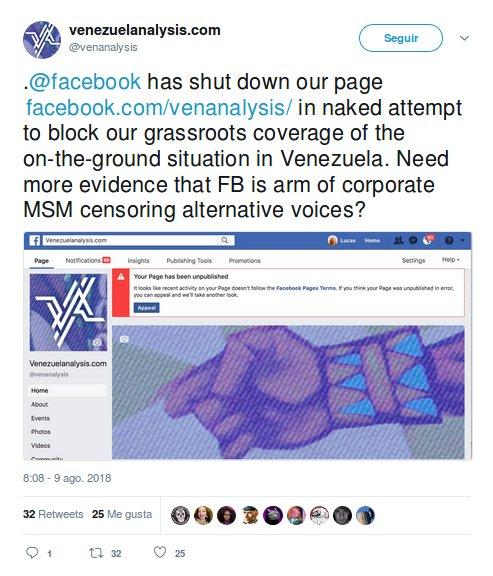 Feibu suspende la cuenta de venezuelanalysis.com