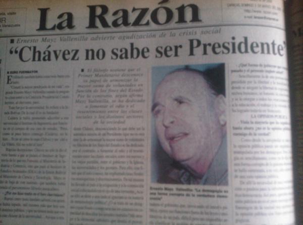 De los sesudos que se pelaron bien feo con Chávez, caso Mayz Vallenilla…