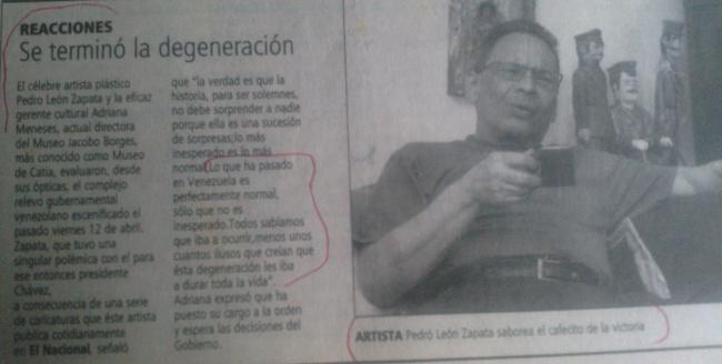 HEMEROTECA: Zapata disfruta un café cuando derrocan a Chávez...